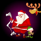 Cartoon Christmas Characters. Colorful vector illustration of cartoon Christmas characters. Santa Claus holding a children list, Elf and a deer peeking from the Royalty Free Stock Images