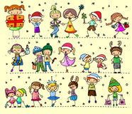 Cartoon Christmas children, vector Royalty Free Stock Photo