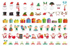 Cartoon Christmas collection. Xmas hats and New Year gifts. Santa Claus and elves helpers characters vector set