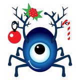 Cartoon Christmas Cyclops. Isolated on white background Royalty Free Stock Photography
