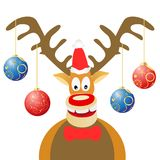 Cartoon Christmas deer with Christmas balls. Isolated cartoon Christmas deer with Christmas balls on white background Royalty Free Stock Photos