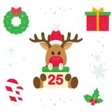 Cartoon christmas deer with sign christmas illustration vector. Vector image of a cartoon christmas deer with sign christmas illustration vector Stock Images