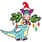 Cartoon Christmas dragon Stock Photos