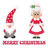 Cartoon christmas dwarf and cartoon mrs santa and christmas text. Vector image of a cartoon christmas dwarf and cartoon mrs santa and christmas text royalty free illustration