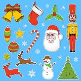Cartoon Christmas elements Royalty Free Stock Images