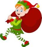 Cartoon Christmas elf carrying a bag of present Stock Photography