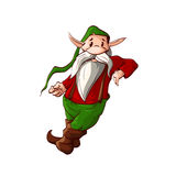Cartoon christmas elf or a dwarf leaning. Colorful vector illustration of a dwarf or a christmas elf leaning Stock Photo