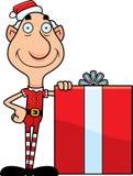 Cartoon Christmas Elf Gift Stock Photo