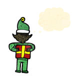cartoon christmas elf with present Royalty Free Stock Image