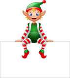 Cartoon Christmas elf sitting on blank sign. Illustration of Cartoon Christmas elf sitting on blank sign Royalty Free Stock Images