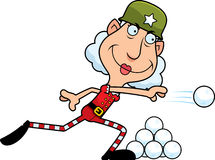 Cartoon Christmas Elf Snowball Fight Stock Images