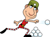 Cartoon Christmas Elf Snowball Fight Stock Photos