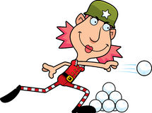 Cartoon Christmas Elf Snowball Fight Royalty Free Stock Images