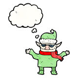 Cartoon christmas elf with sunglasses Royalty Free Stock Photo