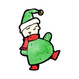 cartoon christmas elf waving Stock Photography