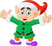 Cartoon Christmas Elf waving with both hands Stock Photo