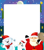Cartoon christmas frame - space for text Royalty Free Stock Images