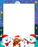 Cartoon christmas frame - space for text Stock Image