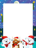 Cartoon christmas frame - space for text Royalty Free Stock Photography