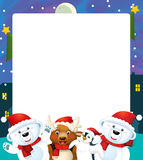 Cartoon christmas frame - space for text Stock Photo