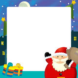 Cartoon christmas frame - space for text - santa claus and presents Royalty Free Stock Photography