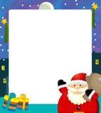 Cartoon christmas frame - space for text - santa claus and presents Stock Photos