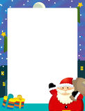 Cartoon christmas frame - space for text - santa claus and presents Royalty Free Stock Image