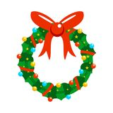Cartoon Christmas Fully Decorated Garland. Vector Graphic Illustration Sign Symbol Design Stock Photo