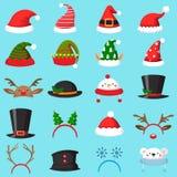 Cartoon christmas hat. Xmas different hats, winter masquerade masks. Elves ears, deer horns and snowman mask vector set. Cartoon christmas hat. Xmas different stock illustration