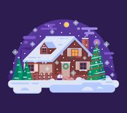 Cartoon Christmas House by Snowy Winter Night stock illustration