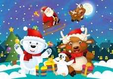 Cartoon christmas illustration with santa claus and different animals Royalty Free Stock Images