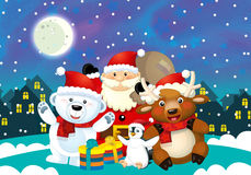 Cartoon christmas illustration with santa claus and different animals Stock Photography