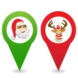 Cartoon Christmas map pin icons. Isolated cartoon Christmas map pin icons on white background Royalty Free Stock Images