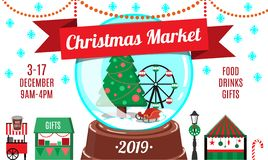 Cartoon Christmas market flyer or invitation design template royalty free illustration