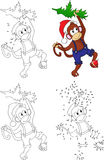 Cartoon Christmas monkey. Coloring book and dot to dot game for Stock Photo