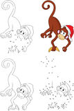 Cartoon Christmas monkey. Coloring book and dot to dot game for Stock Photography