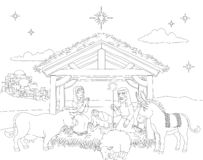 Cartoon Christmas Nativity Scene Coloring. A Christmas nativity coloring scene cartoon, with baby Jesus, Mary and Joseph in the manger with donkey and other stock illustration