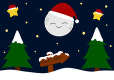 Cartoon christmas night background illustration with snow Royalty Free Stock Images