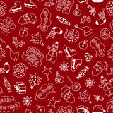 Cartoon Christmas Pattern - White Objects And Characters  On The Red Background. Cartoon Christmas Pattern - White Elements On The Red Background Royalty Free Stock Image