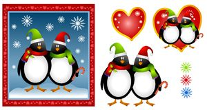 Cartoon Christmas Penguin Couple Stock Image