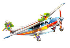 Cartoon christmas plane - caricature Royalty Free Stock Images
