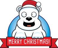 Cartoon Christmas Polar Bear Banner Stock Photos