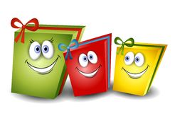 Cartoon Christmas Presents. An illustration featuring a cartoonish group of Christmas (or other holiday) presents with smiling faces wrapped in bows Royalty Free Stock Image