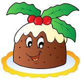 Cartoon Christmas pudding Royalty Free Stock Photo