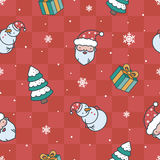 Cartoon Christmas red pattern. Christmas pattern with santa, gifts, snowman and spruce royalty free illustration