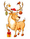 Cartoon christmas reindeer vector illustration