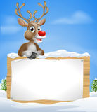 Cartoon Christmas Reindeer Sign Stock Photo