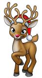 Cartoon Christmas Reindeer Wearing Santa Hat Stock Image