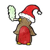 Cartoon christmas robin smoking marijuana Royalty Free Stock Photo