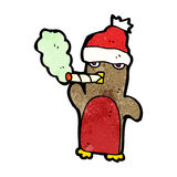 cartoon christmas robin smoking marijuana Royalty Free Stock Photography